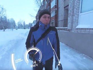 Моноколесо зимой в 360
