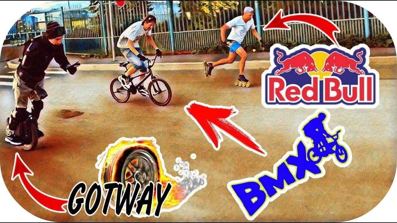 Моноколесо GotWay MSuper X VS профи на роликах и BMX велосипедиста